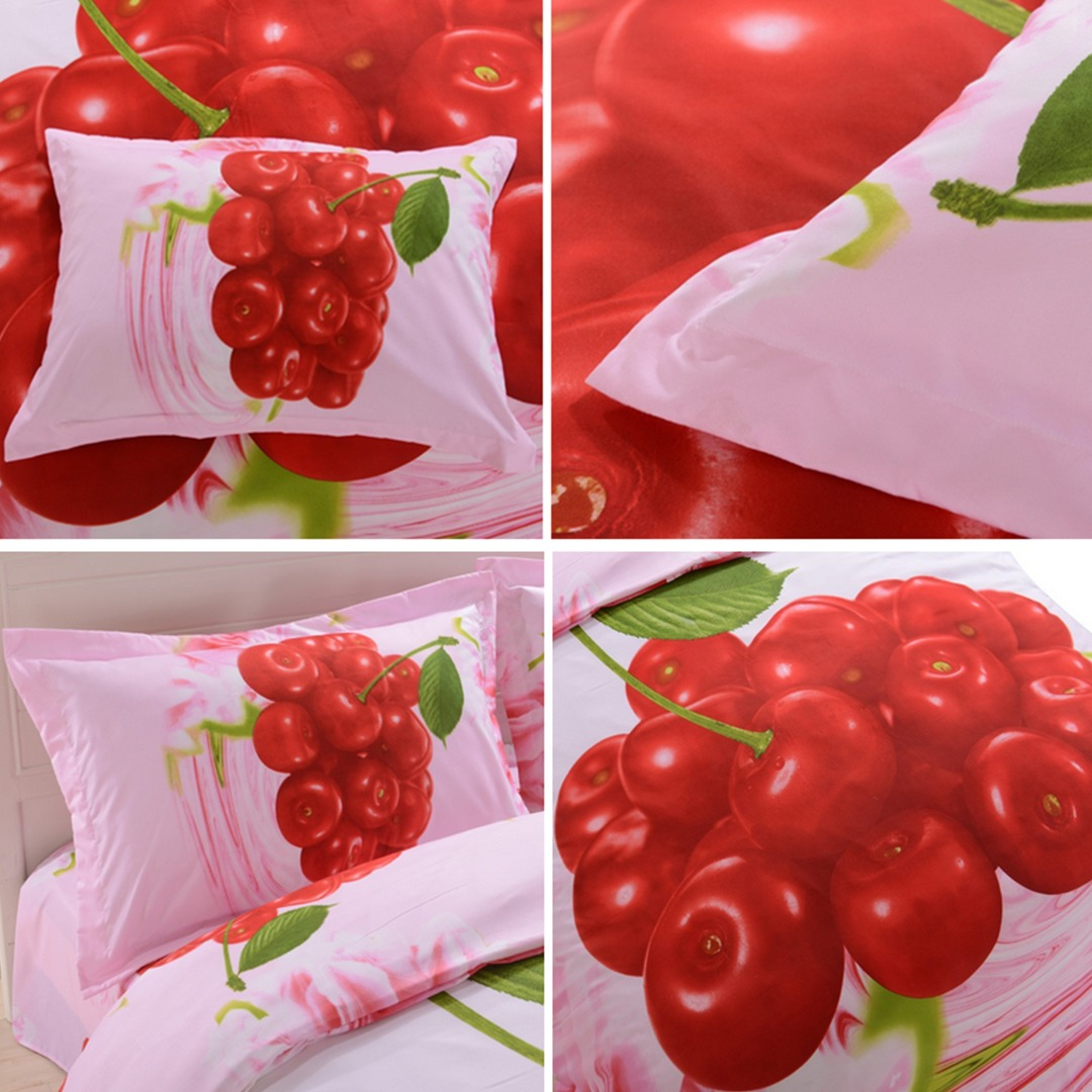 3d Cherry Bedding set pillow cases
