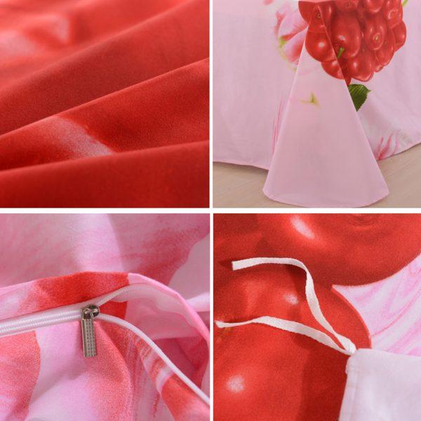 3d Cherry Bedding set flat sheet