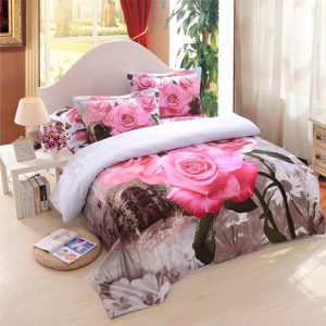 3D Pink Rose Bedding Set