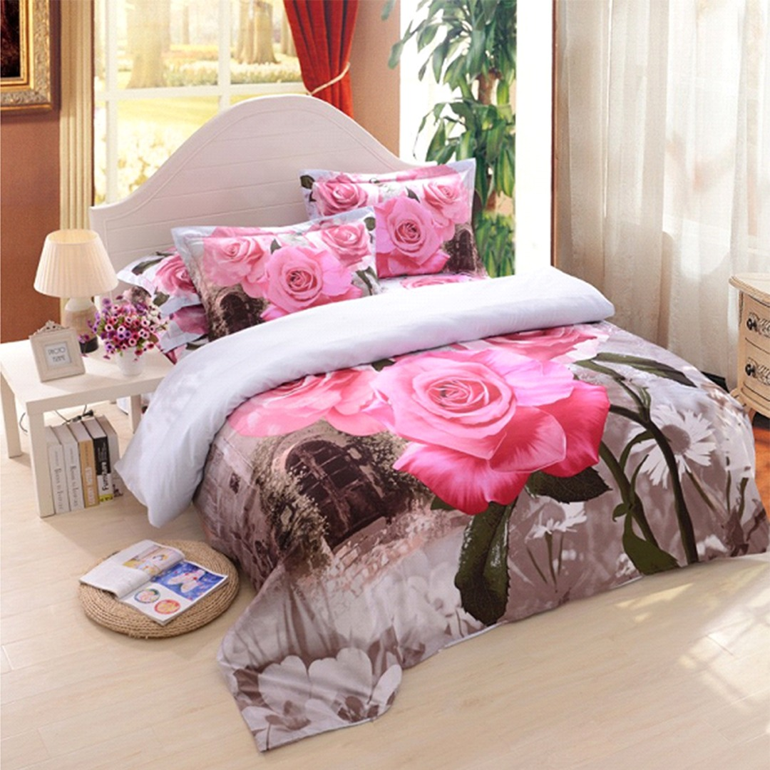 3D Pink Rose Bedding Set