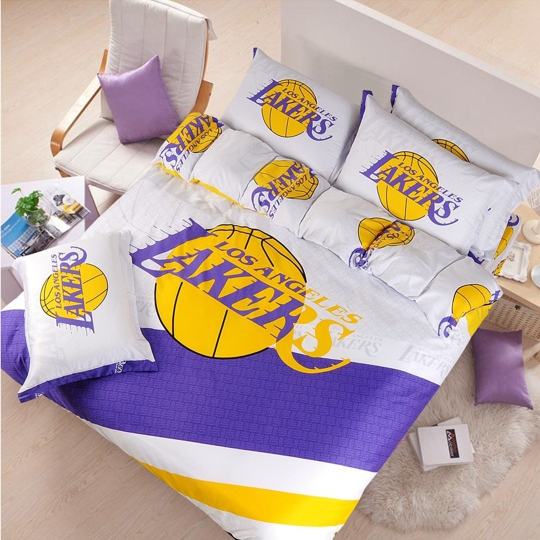 Los angeles lakers basketball bedding set