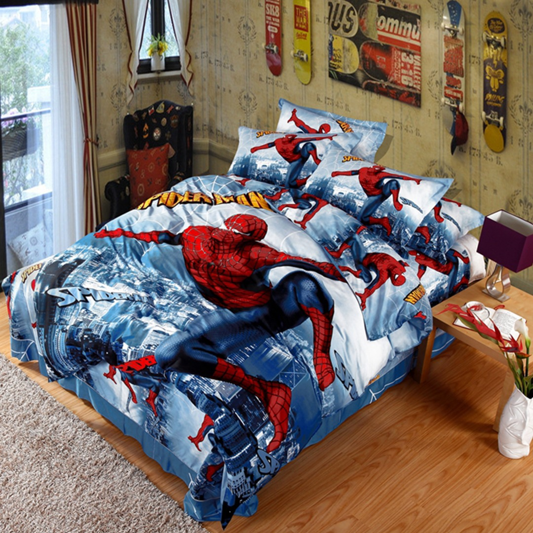 Spiderman Bedding Set Queen Size on table and chair sets