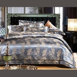 Luxury Blue Comforter Bed Set - 5Pcs