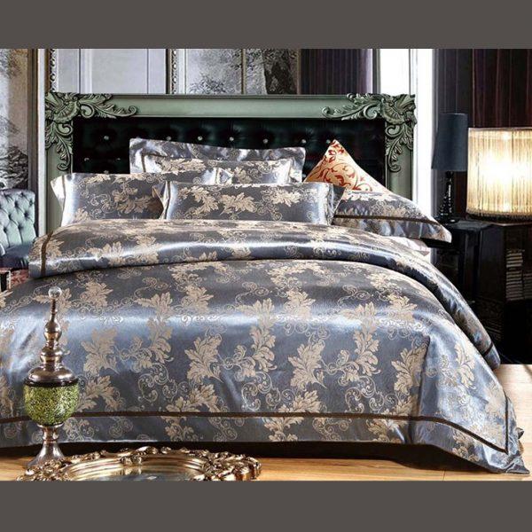 bedding 45 600x600 - Luxury Blue Comforter Bed Set - 5Pcs