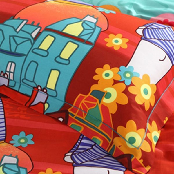 5pcs Cartoon style print bedding set 4