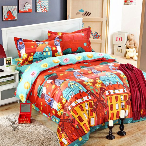 5pcs Cartoon style print bedding set