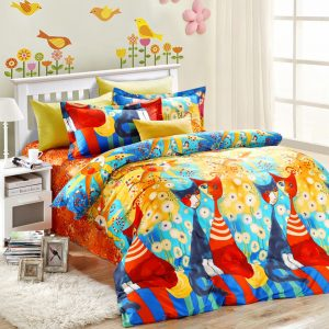 5pcs elegant style colorful cats bedding set