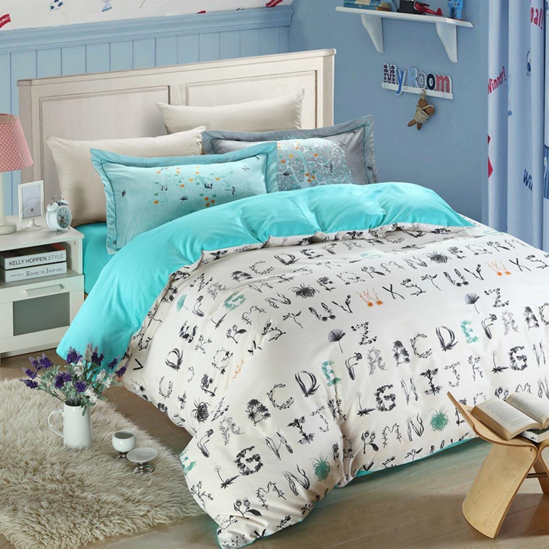 5pcs flowers alphabet letters print bedding set
