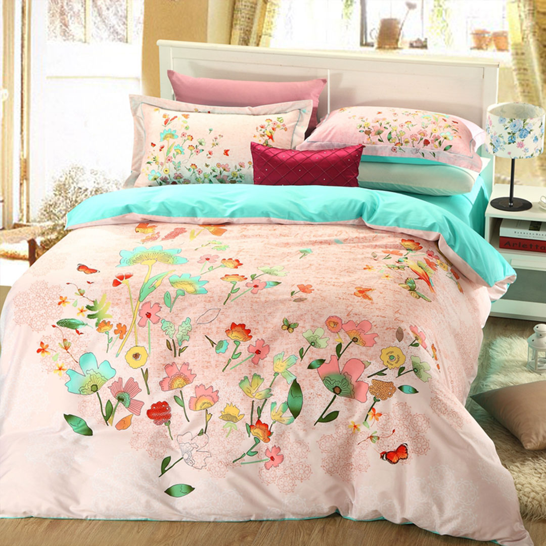 Blue and Pink Floral Bedding Set. Free Shipping Worldwide. % soft cotton fabric Comfortable like baby skin. Each bedding set includes 4pc with comforter. Blue and Pink Floral Bedding Set. Free Shipping Worldwide. % soft cotton fabric Comfortable .