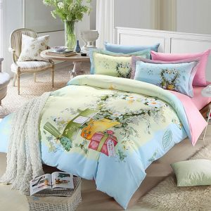 Elegant style pink and light blue flowers print bedding set