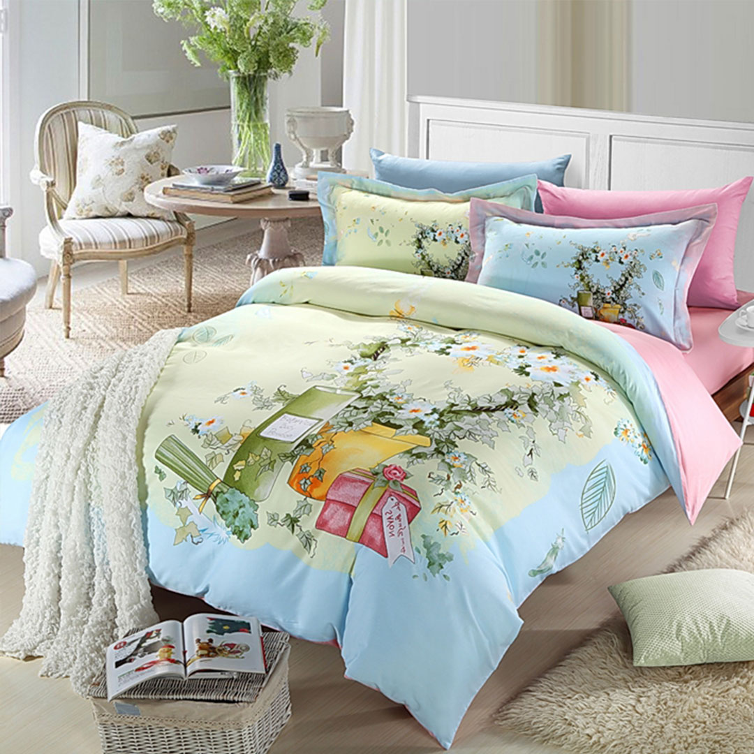 Elegant Pink Amp Light Blue Flowers Bedding Set Ebeddingsets