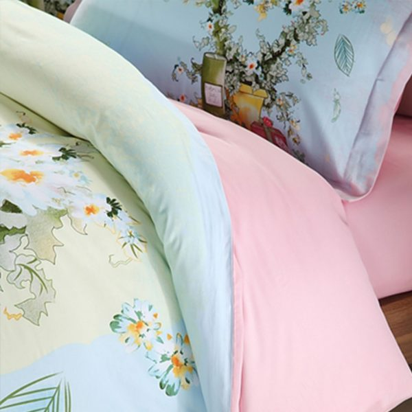 Elegant style pink and light blue flowers print bedding set 3