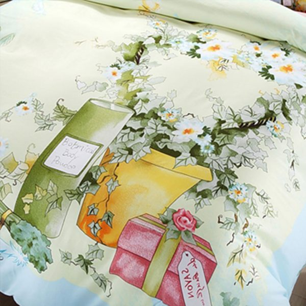 Elegant style pink and light blue flowers print bedding set 4