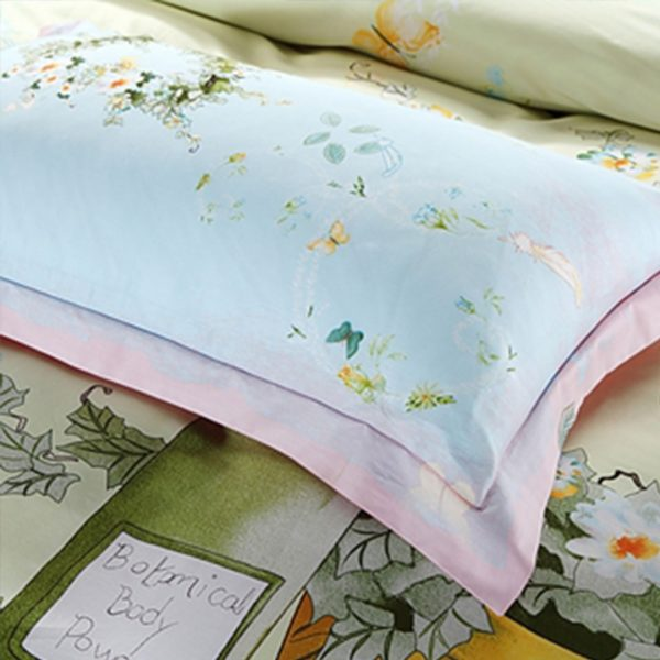 Elegant style pink and light blue flowers print bedding set 5