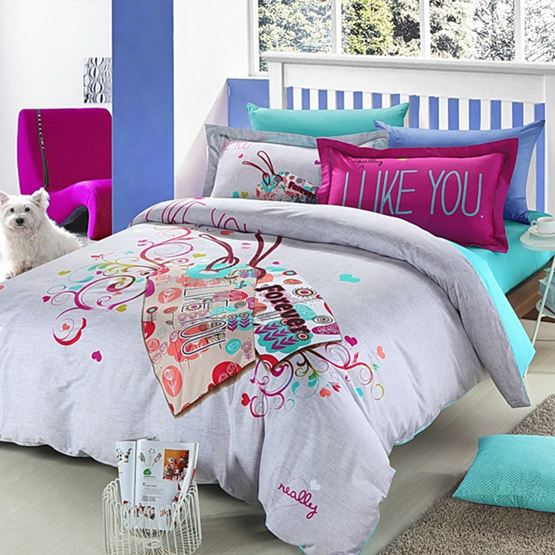 I like you forever floral bedding set