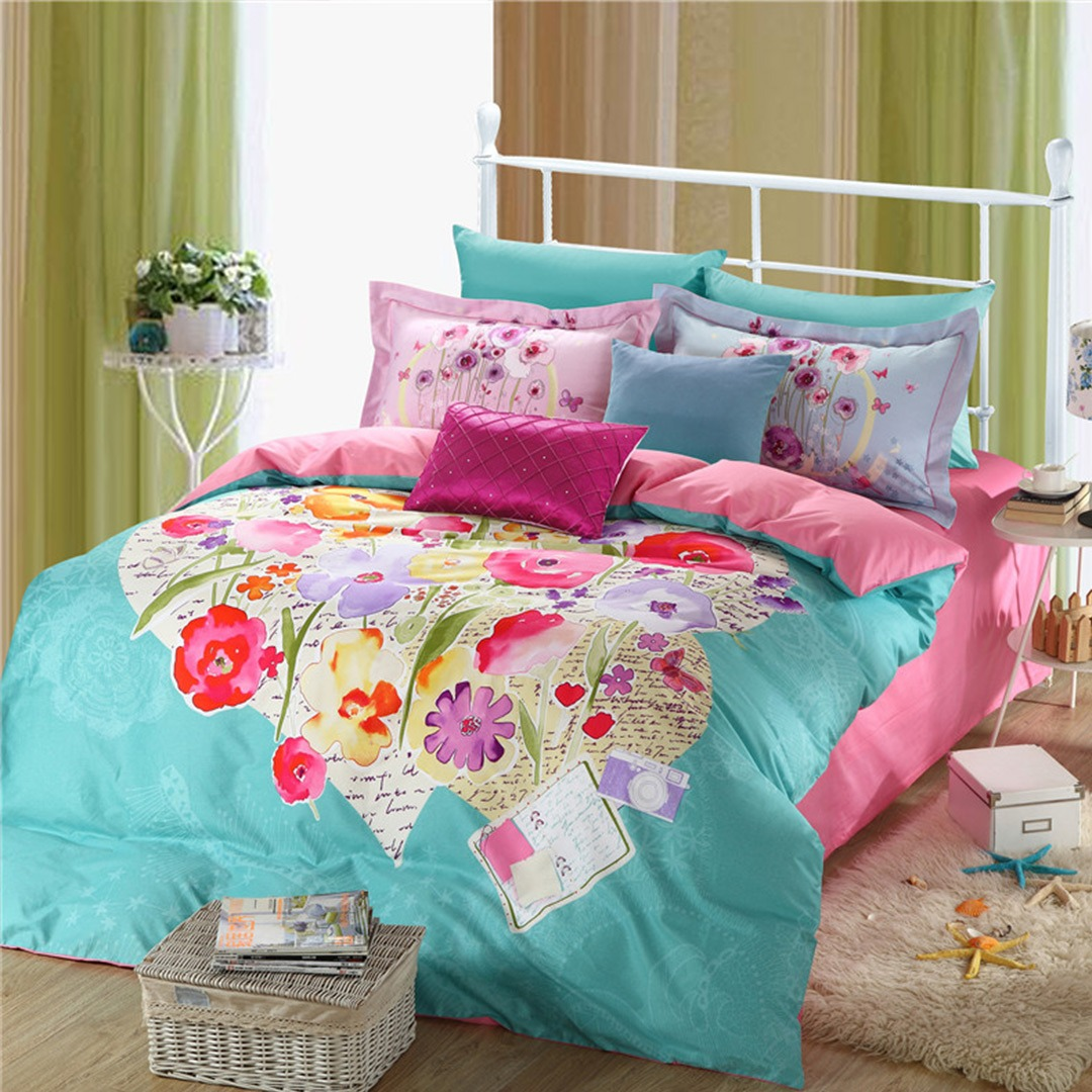 light blue and pink beautiful floral bedding set