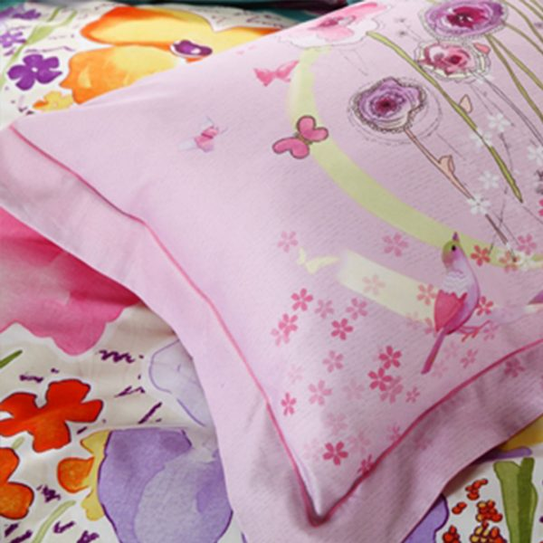 Light Blue and pink beautiful floral bedding set 3