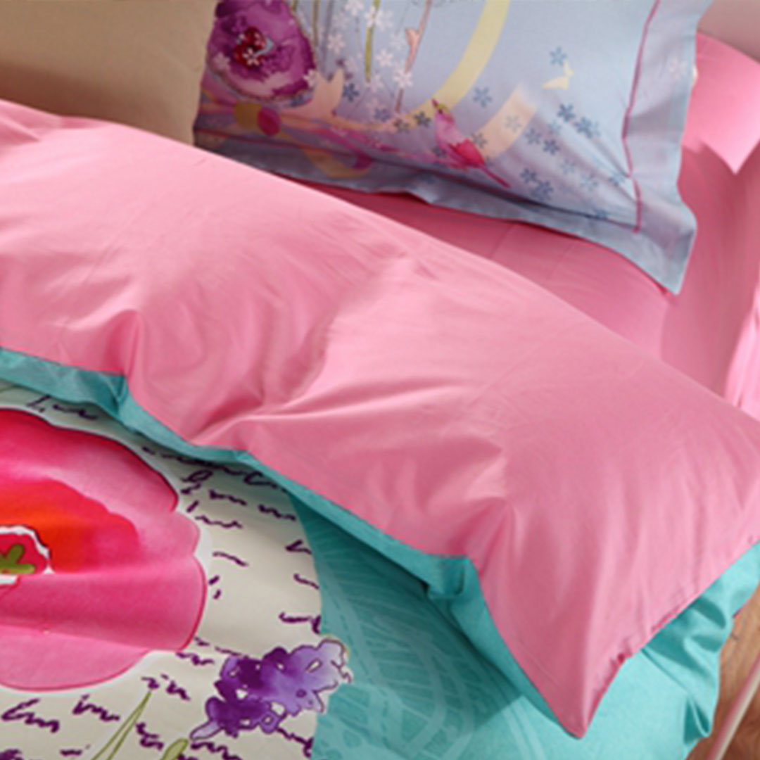 Blue and Pink Floral Bedding Set