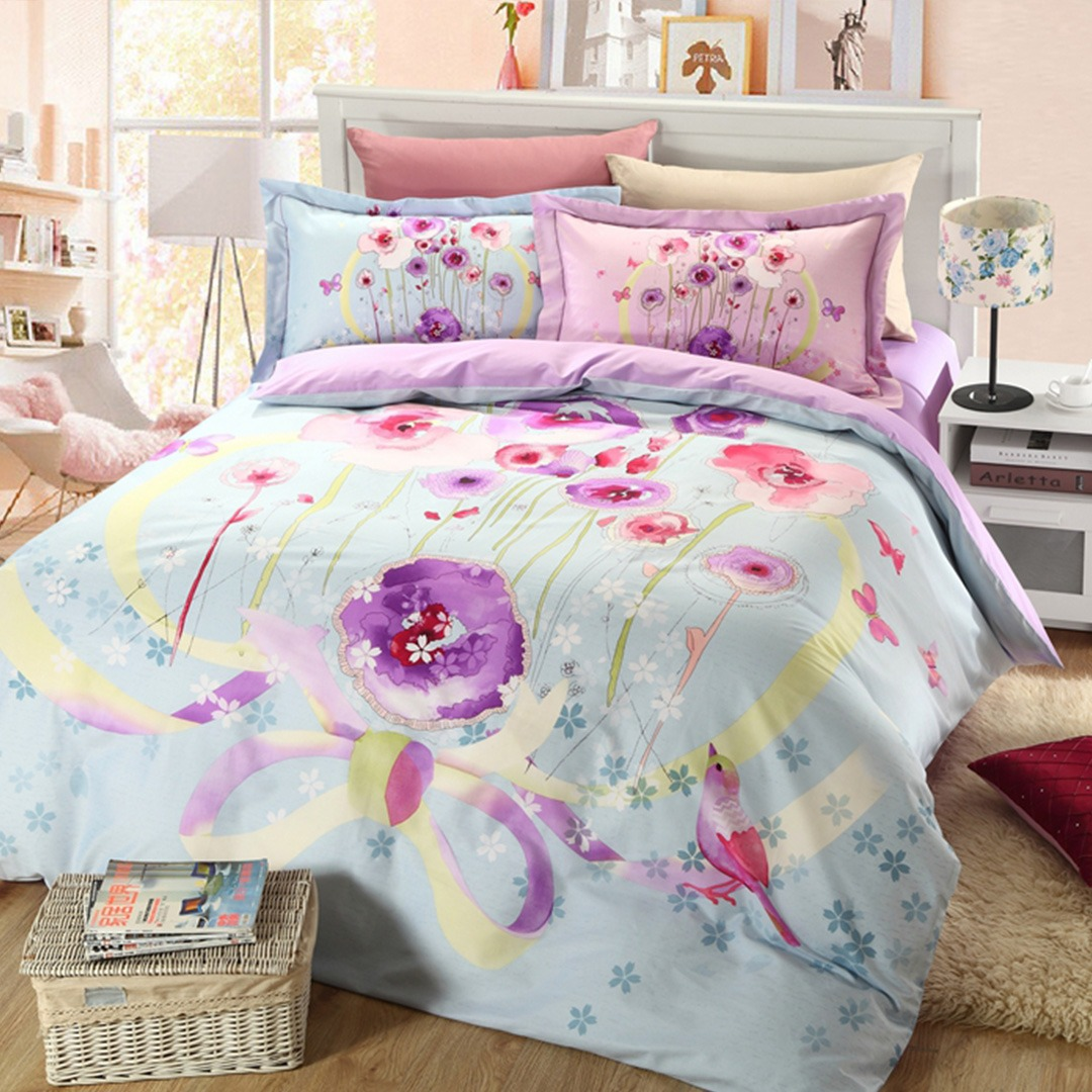 Light Blue and purple floral bedding set