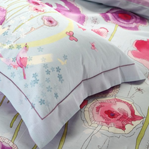 Light Blue and purple floral bedding set 4