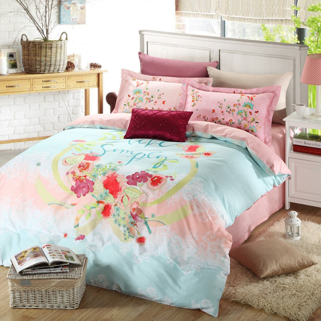 Discount floral girls bedding set Two color shades of beautiful