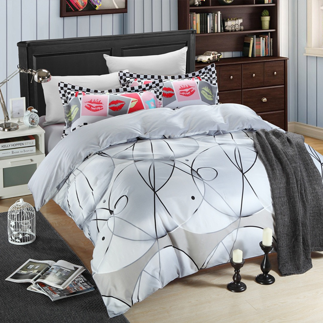 White And Ash Color Elegant Bedding Set Ebeddingsets