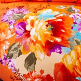Orange Floral Print Bed Sets