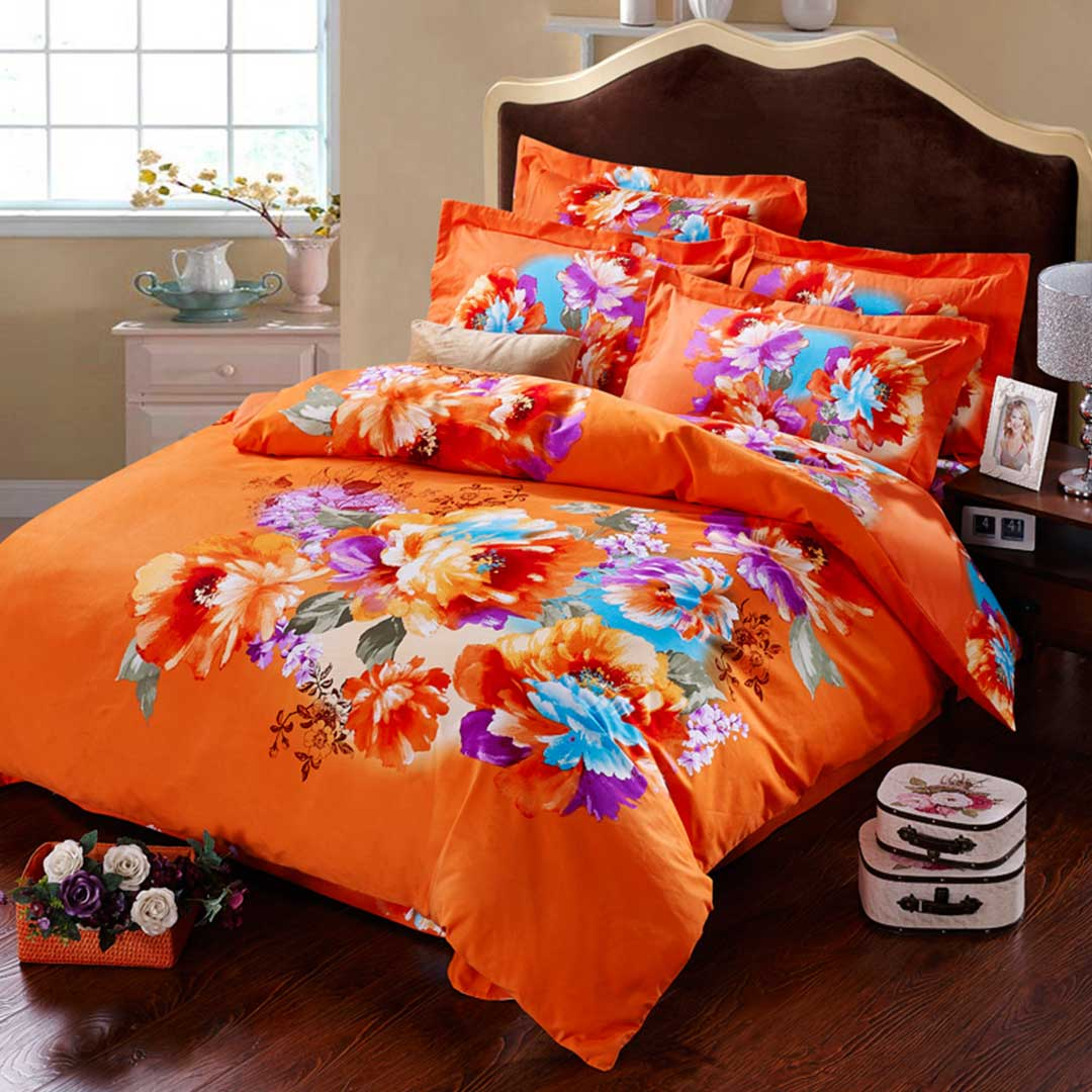 Orange Floral Print Bed Sets
