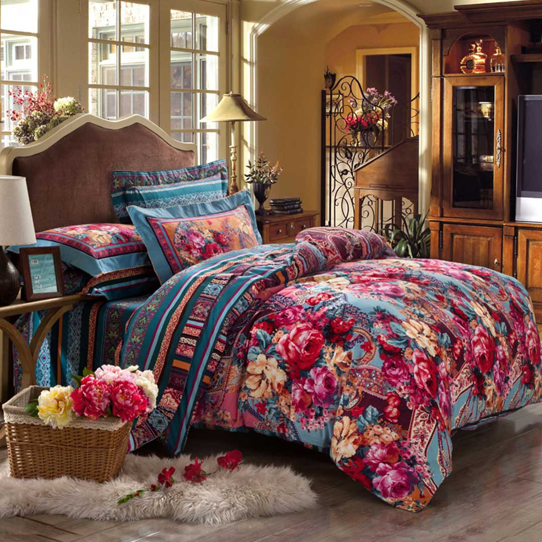 Blooming design luxury comforter set ebeddingsets for Luxury cotton comforter sets