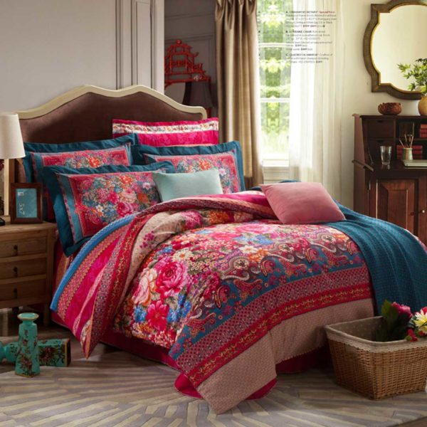 Brushed Fabric Floral Bed Set