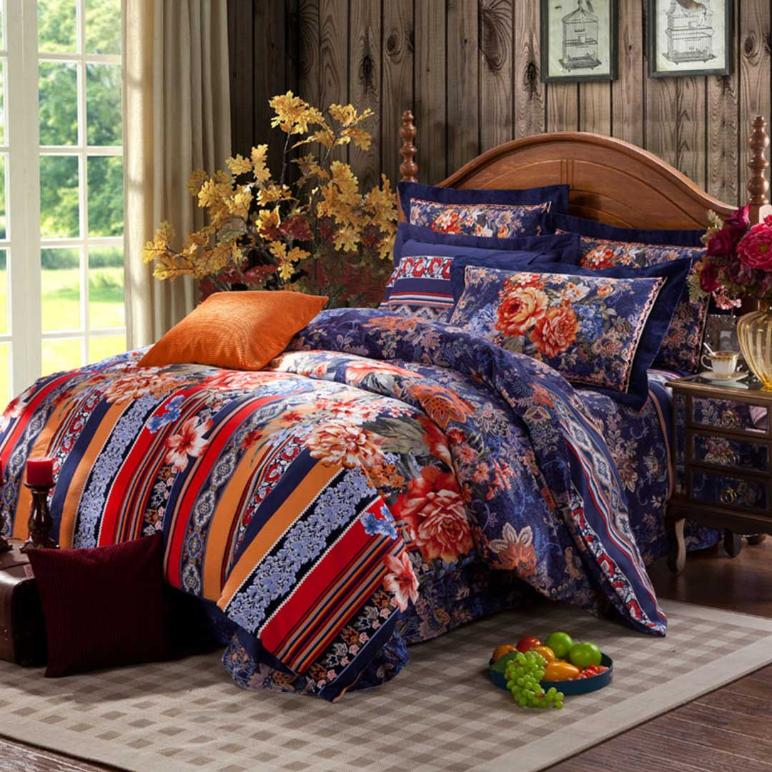 Floral Cross Bed Set - 5Pcs