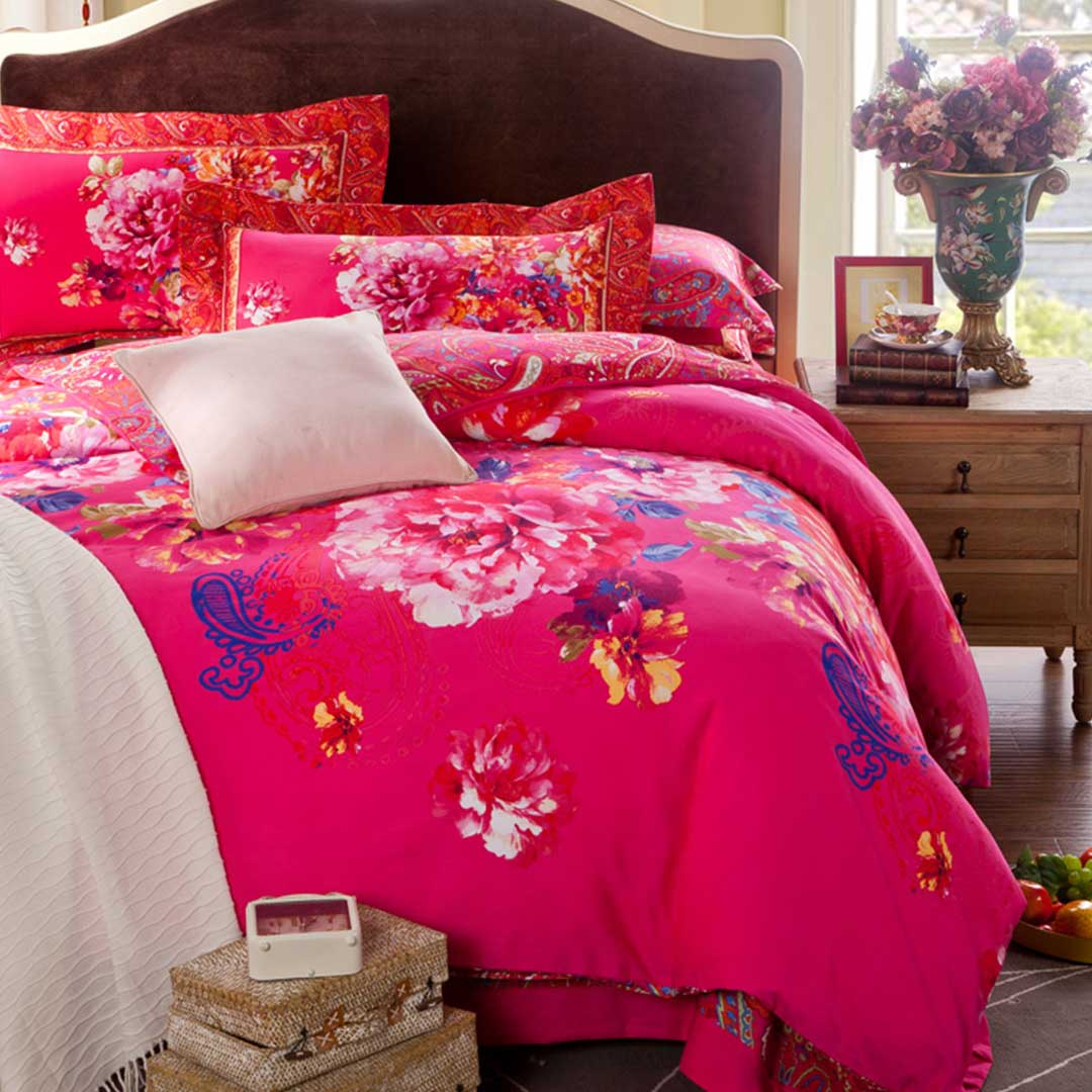 Pink Classic Floral Bedding Set Style 2 Ebeddingsets
