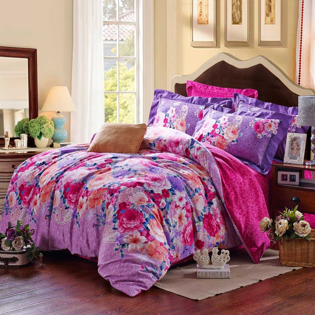 Purple Fl Duvet Cover Sets