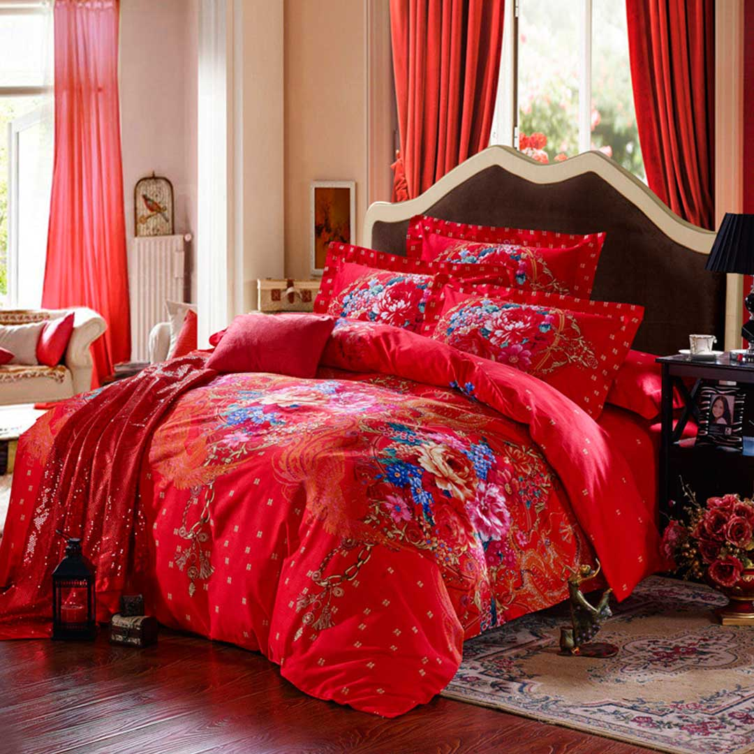 Red Floral Print Bed Sets Ebeddingsets
