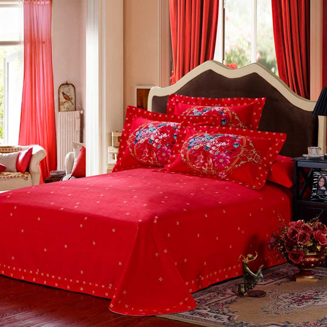 Red Floral Print Bed Sets