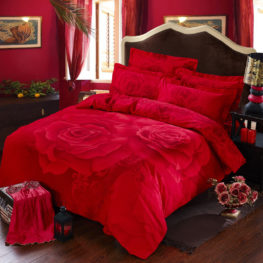 Red Rose Printed Romantic Bedding Sets