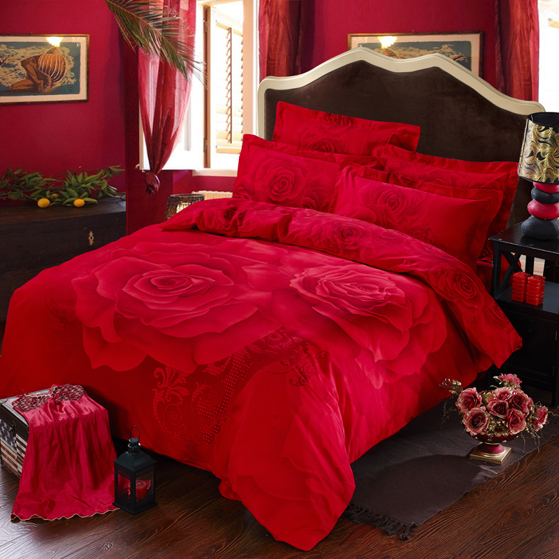 Red Rose Printed Romantic Bedding Sets Ebeddingsets
