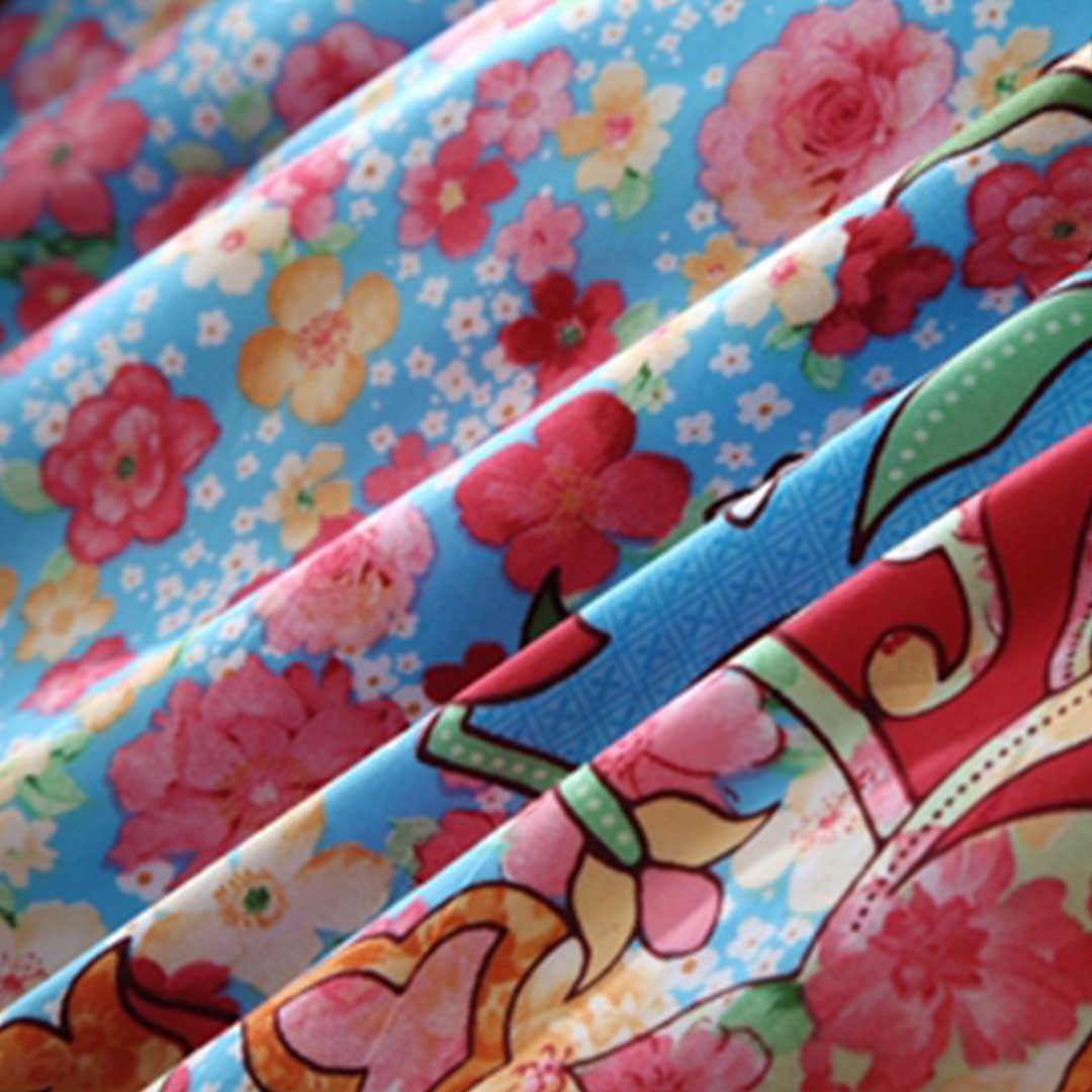 Blue and Pink Floral Bedding Set
