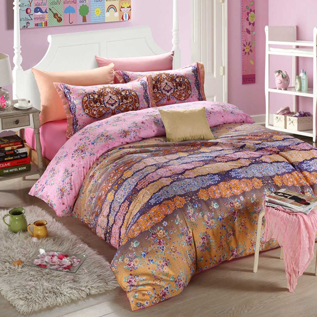 Pink Floral 5pcs Attractive Bedding Set