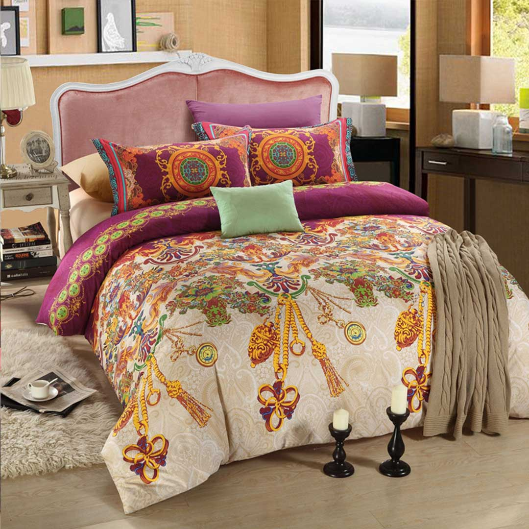 Violet and Gold Floral Romantic Bed Set
