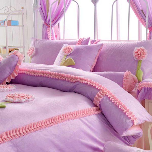Teen Girl Bedding Set 3 600x600 - Teen Girl Bedding Set Velvet Fabric