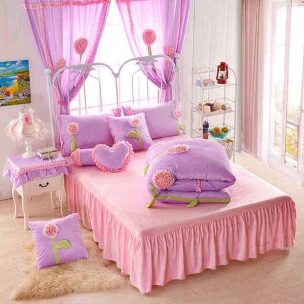 Teen Girl Bedding Set 4 600x600 - Teen Girl Bedding Set Velvet Fabric
