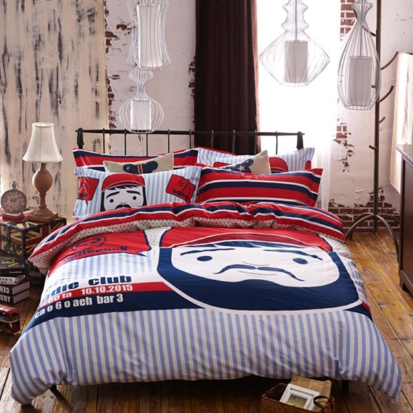 mustache bedding set 1 600x600 - Mustache Bedding Set Queen Size