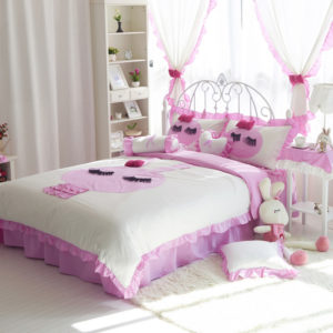 shabby chic bedding set Queen & twin sizev style 1 pink and white
