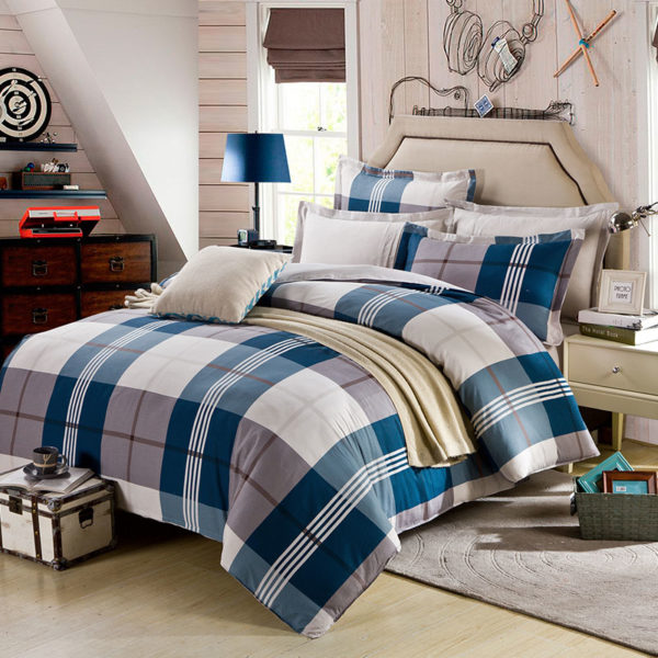 Aesthetic White And steel Grey Checks Cotton Bedding Set 1 600x600 - Aesthetic White And steel Grey Checks Cotton  Bedding Set