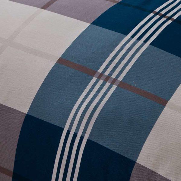 Aesthetic White And steel Grey Checks Cotton Bedding Set 4