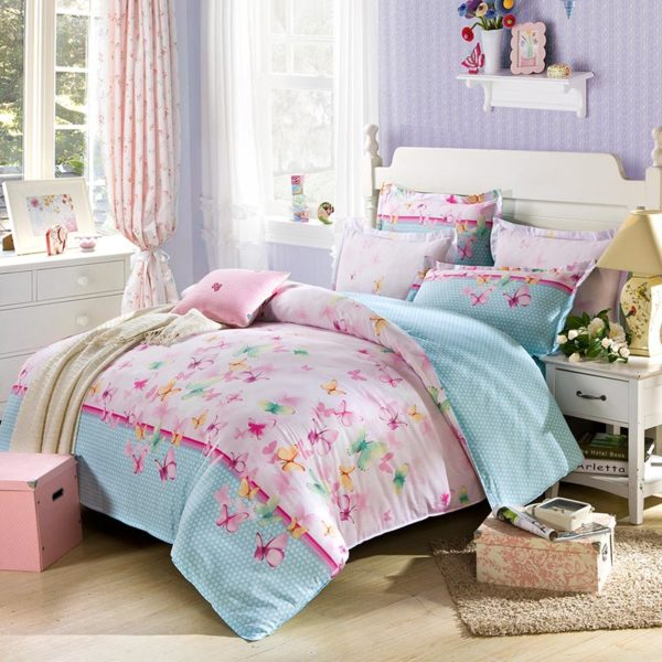 Amazing Light Blue Butterfly Theme  Cotton  Bedding Set