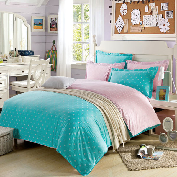 Attractive Turquoise And Pinks Cotton Bedding Set 1 600x600 - Attractive Turquoise And Pinks Cotton  Bedding Set