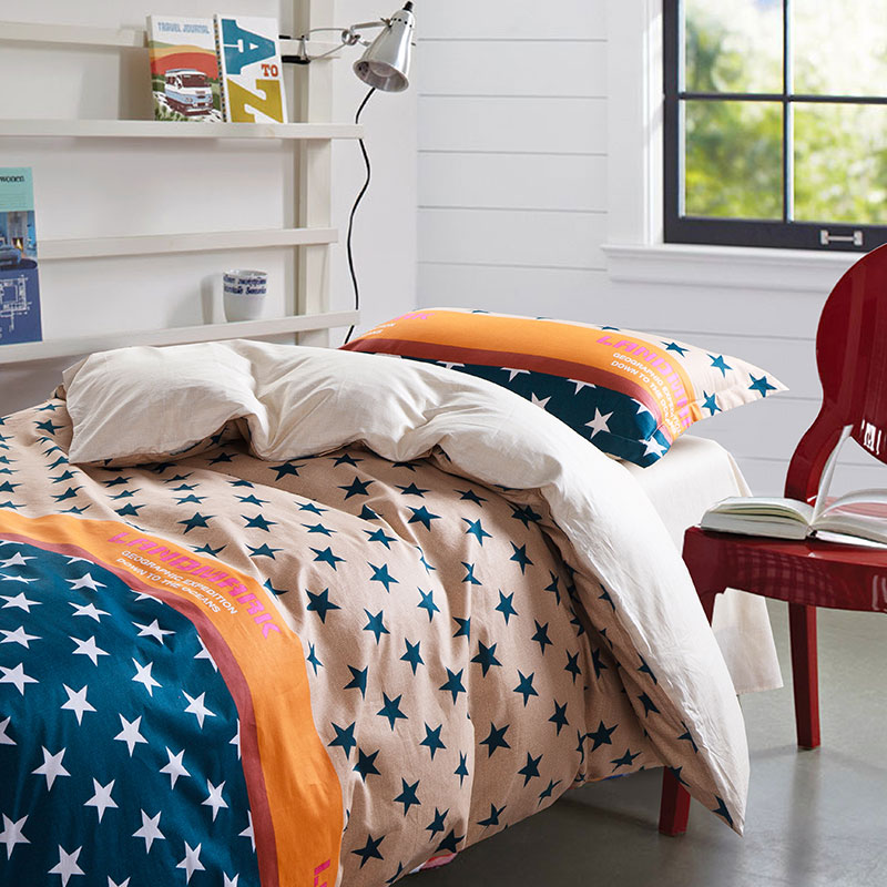 Awesome Cobalt Blue And Orange Cotton Bedding Set