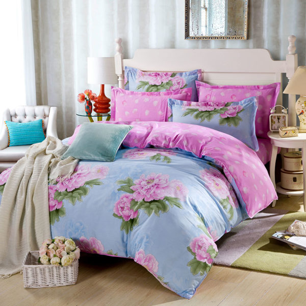 Awesome Cotton Bedding Set in Blue And Pink 1 600x600 - Awesome Cotton  Bedding Set in Blue And Pink